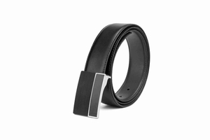 LA1177 Men Leather Black Accessory Belt with Plain Buckle