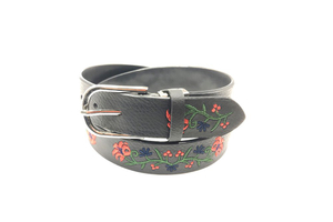 Women black leather belt for trouser and suit AFL71066