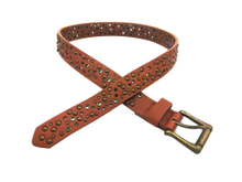 AF-057 Boys Brown Fashion Rivet And Eyelets Belt with Single Buckle