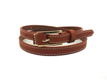 AF-113 Womens fashion thin leather belt with gold buckle