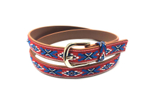Brown leather belt with golden buckle and custom pattern AFL71056
