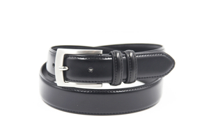F-331 Mens Black Leather Casual Belt with Buckle
