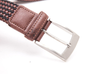 AFM7056 Mens Brown Bonded Leather And Waxed Rope Braided Belt with Buckle