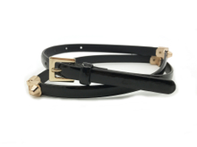 AF-059 Womens black skinny fashion belt with gold buckle